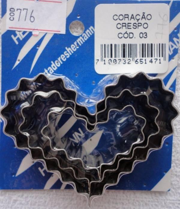 Foto 1 - Cód M776 Cortador inox de coração crespo (pequeno) 3 peças (H)