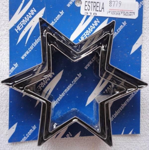 Foto 1 - Cód M779 Cortador inox estrela 6 pontas (grande 16) 3 peças (H)