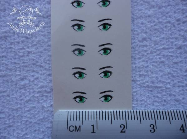 Foto 1 - Cód M814 Decalque de mini olhos 85 pares verde (noivinhos)