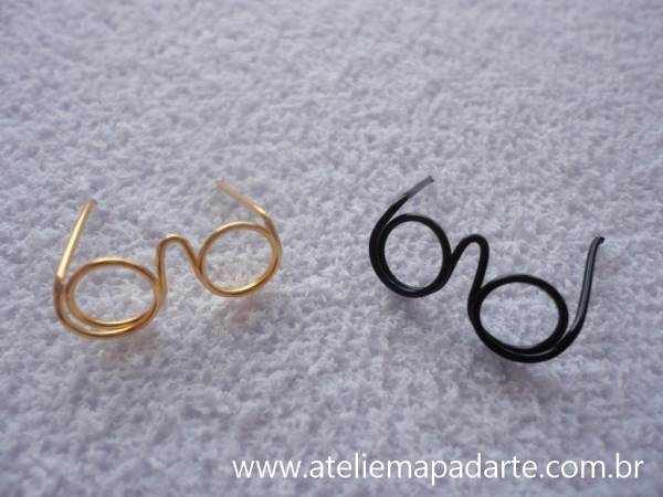 Foto3 - Cód M845 Mini óculos dourado (M)