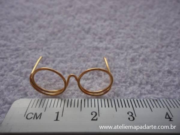 Foto2 - Cód M848 Mini óculos dourado (G)