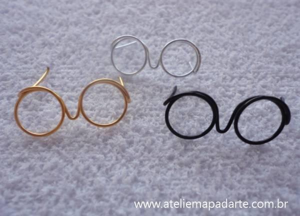 Foto3 - Cód M848 Mini óculos dourado (G)