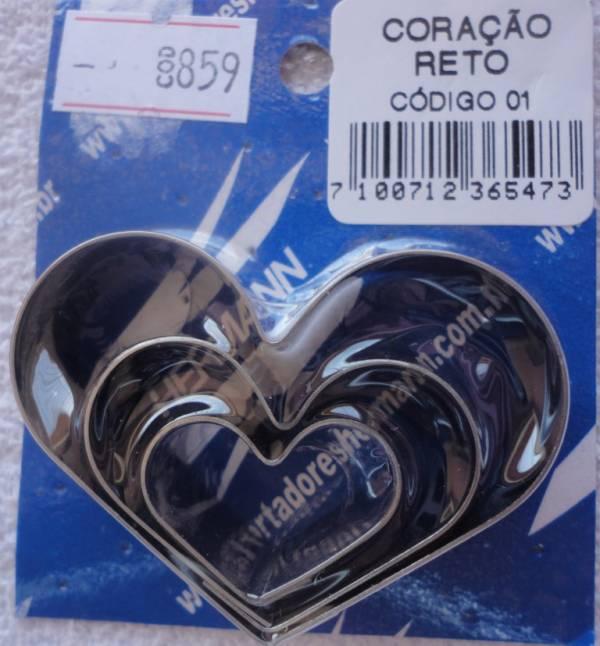 Foto 1 - Cód M859 Cortador inox de coração reto inox c/ 3 peças (ref. 01) (H)