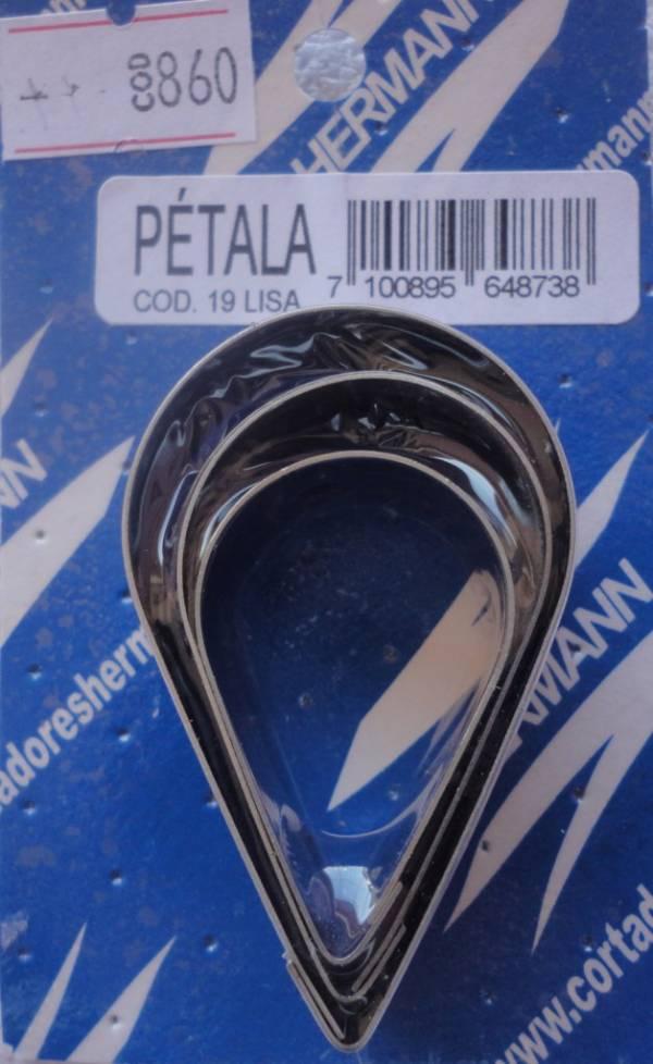 Foto 1 - Cód M860 Cortador inox de pétala lisa c/ 3 peças (gota) (ref. 19) (H)
