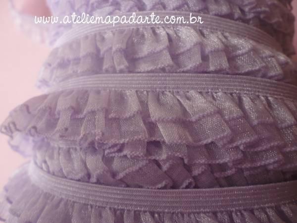 Foto 1 - Cód M994 Renda lilás 2 babados 1 mt