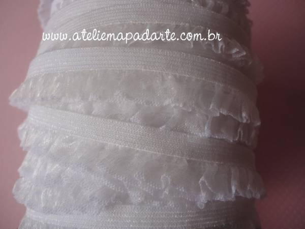 Foto 1 - Cód M996 Renda branco 1 babado (1mt)