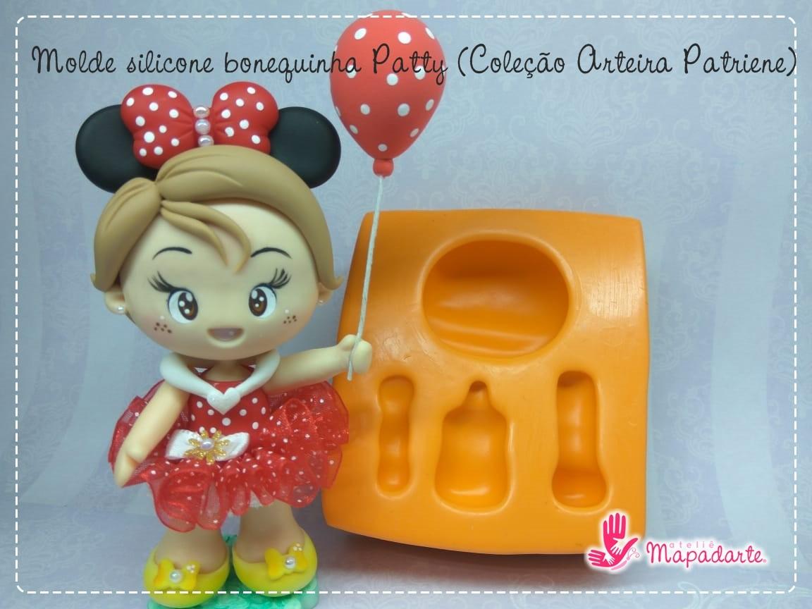 Foto 1 - Cód AP09 Molde de silicone bonequinha Patty (Coleção Arteira Patriene) 04peças