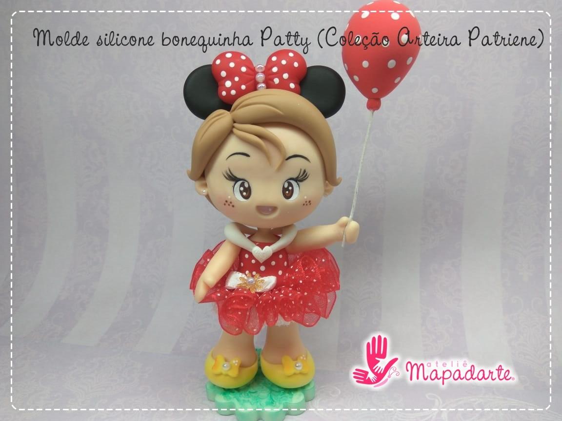 Foto2 - Cód AP09 Molde de silicone bonequinha Patty (Coleção Arteira Patriene) 04peças