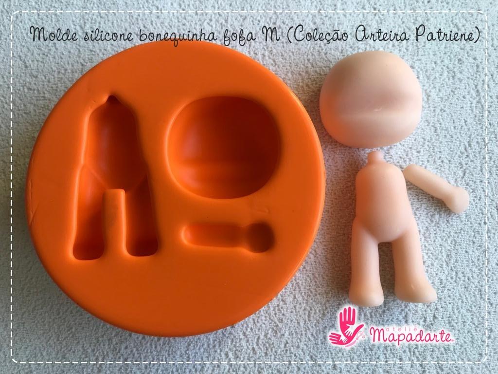Foto3 - Cód AP64 Molde de silicone bonequinha fofa M(Coleção Arteira Patriene) 03peças