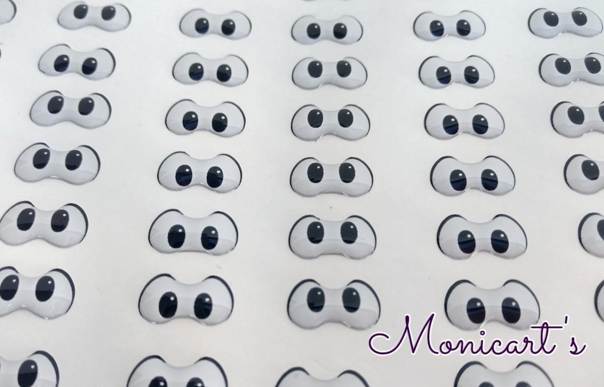 Foto 1 - Cód M1338 Adesivos de olhos resinados 490-M (Mônica) 42 pares