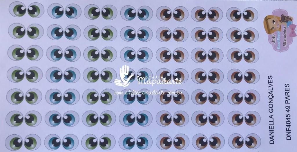 Foto 1 - Cód M1703 Olho adesivo DNF 4045 49 pares
