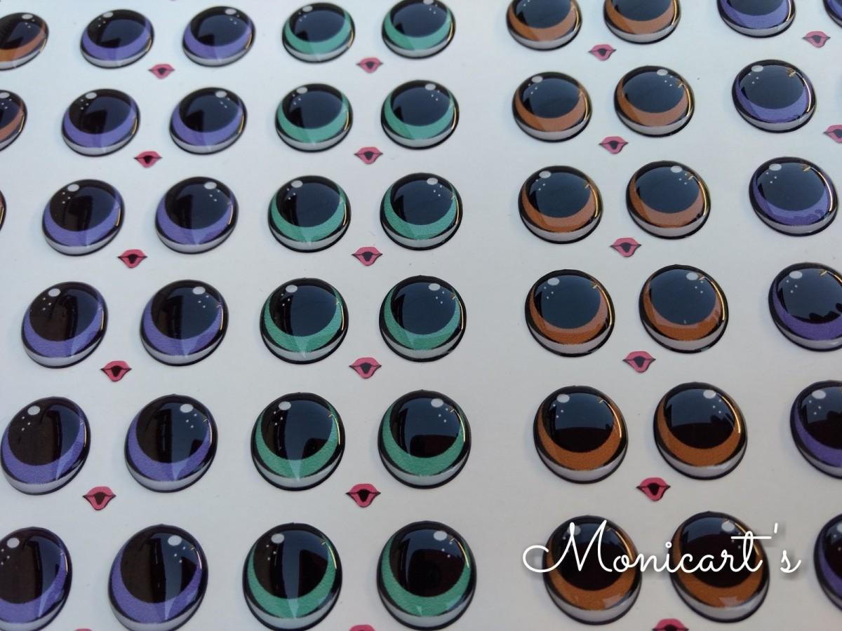 Foto 1 - Cód M1723 Adesivos de olhos resinados 460-G(LOL) 12 pares