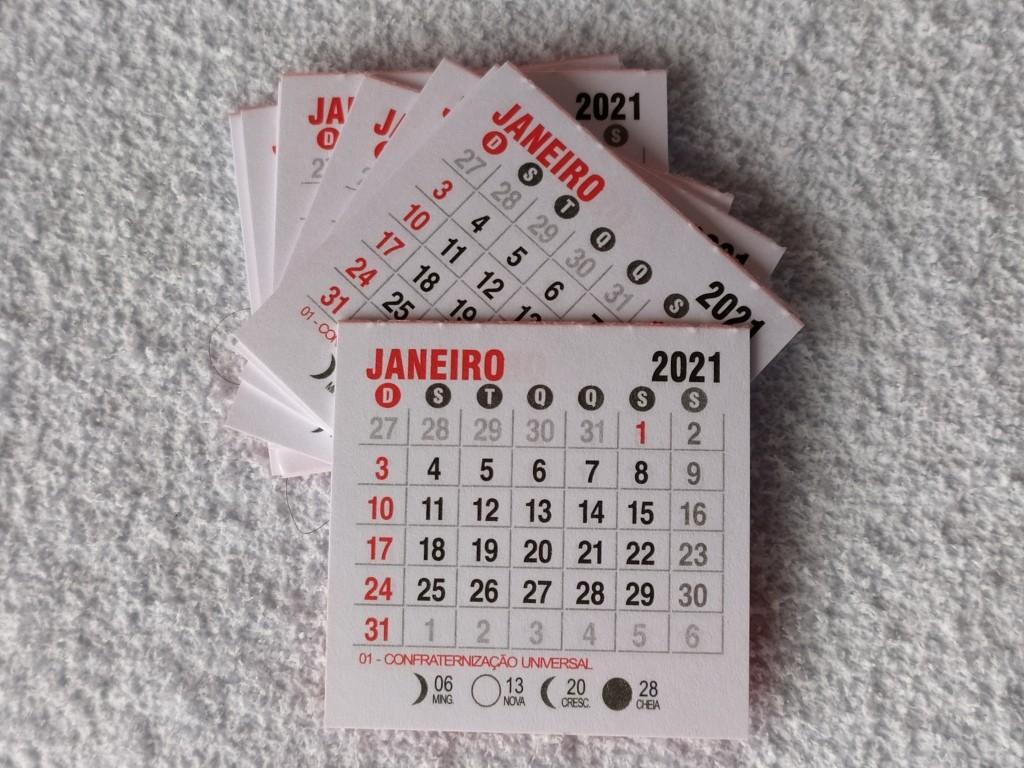 Foto2 - Cód M173 Mini calendário 2021 com 10 un