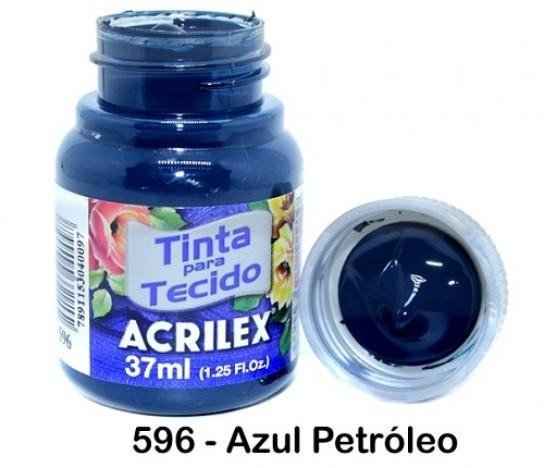 Foto 1 - Cód M2224 Tinta de tecido fosca azul petróleo 37 ml (596) 01 un