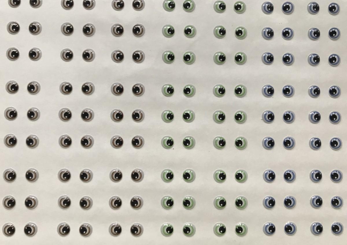 Foto 1 - Cód M2295 Adesivos de olhos resinados 340 - PP 81 pares