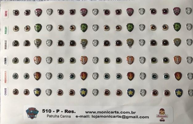 Foto2 - Cód M2299 Adesivos patrulha canina, olhos e logos dos personagens, Rubble, Rocky, Skye, Marshall, Zuma, Chase (P)