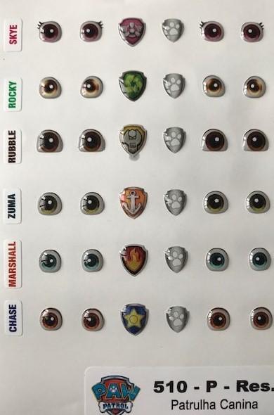 Foto 1 - Cód M2299 Adesivos patrulha canina, olhos e logos dos personagens, Rubble, Rocky, Skye, Marshall, Zuma, Chase (P)