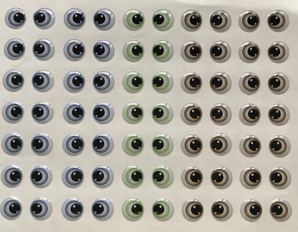 Foto 1 - Cód M2310 Adesivos de olhos resinados 340 -M 35 pares