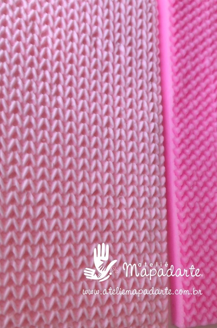 Foto2 - Cód M2762 Textura tricô em silicone 10x10cm (Importado)