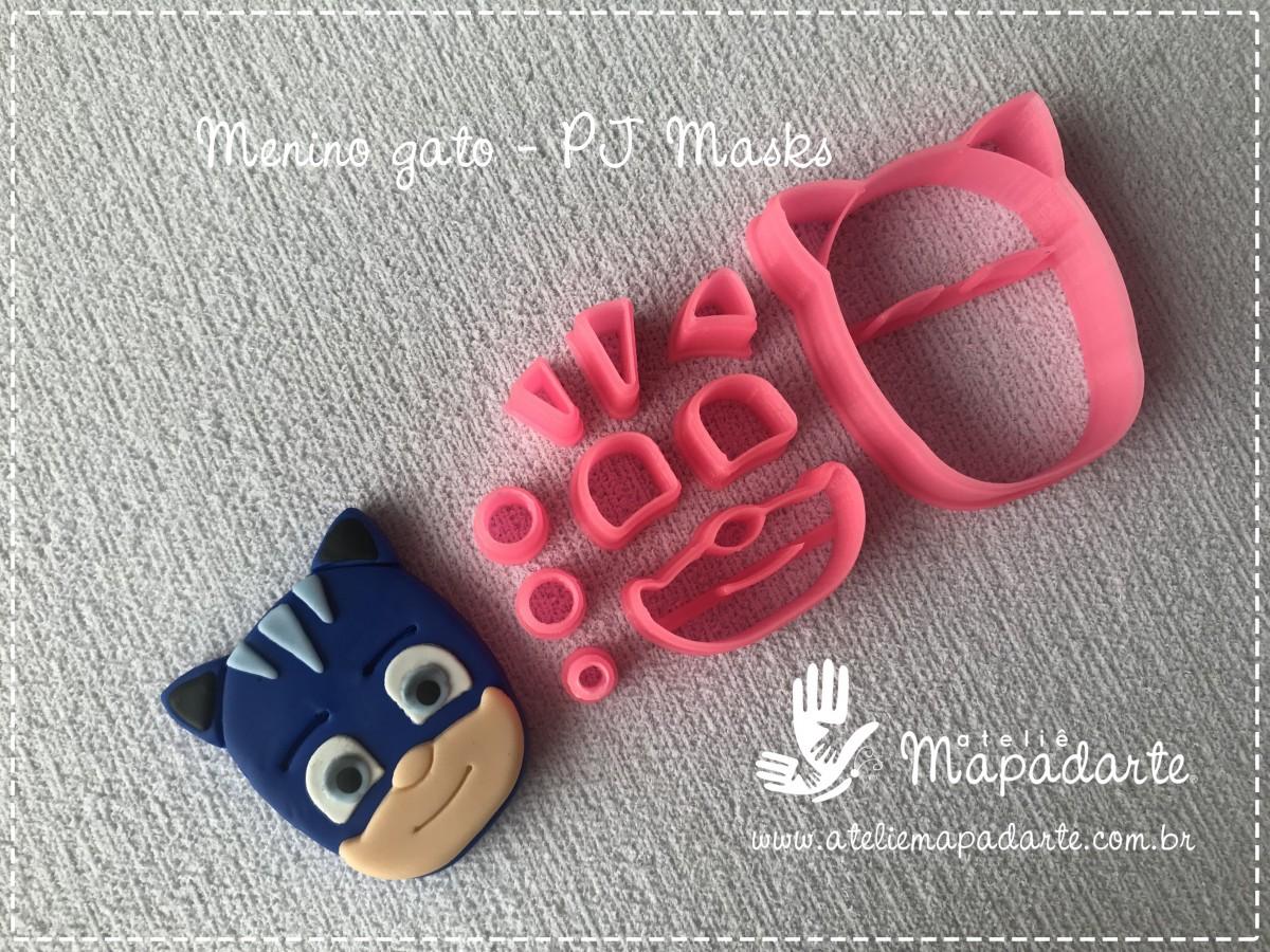 Foto 1 - Cód M2767 Menino gato PJ Masks em plástico PLA ref. 261-4 09 peças (AC)