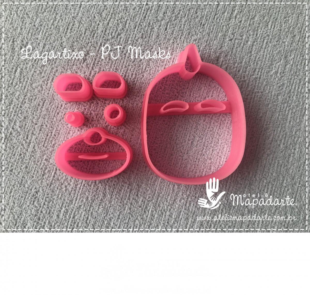 Foto2 - Cód M2768 Lagartixo PJ Masks em plástico PLA ref. 263-6 06peças (AC)