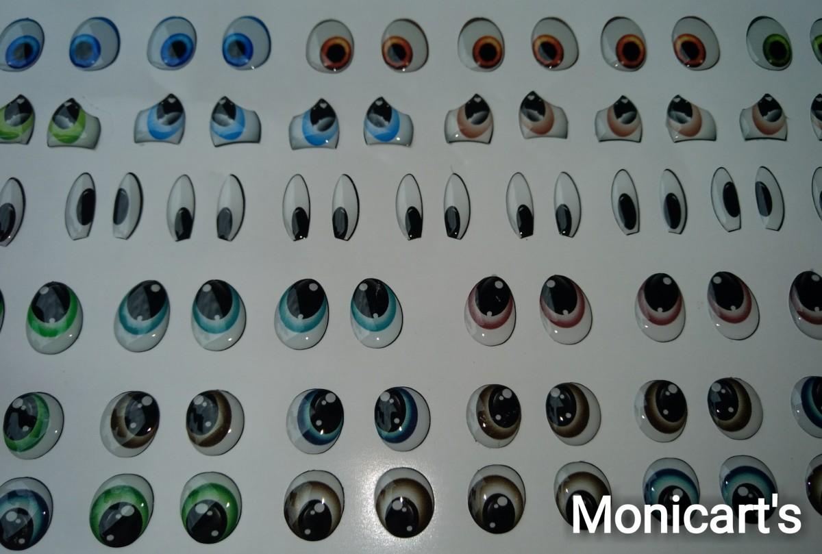 Foto3 - Cód M2792 Adesivos de olhos resinados combo 2 P 98 pares