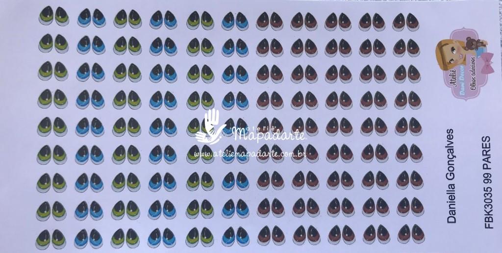 Foto 1 - Cód M298 Olho adesivo FBK 3035 99 pares