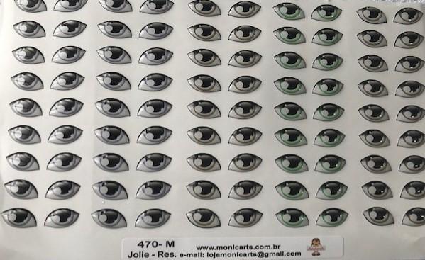 Foto 1 - Cód M3058 Adesivos de olhos resinados 470-M (Jolie) 45 pares