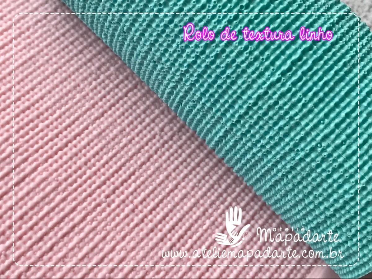 Foto2 - Cód M442 Rolo de textura linho (tipo tecido) 17.5 cm com o cabo 01 un