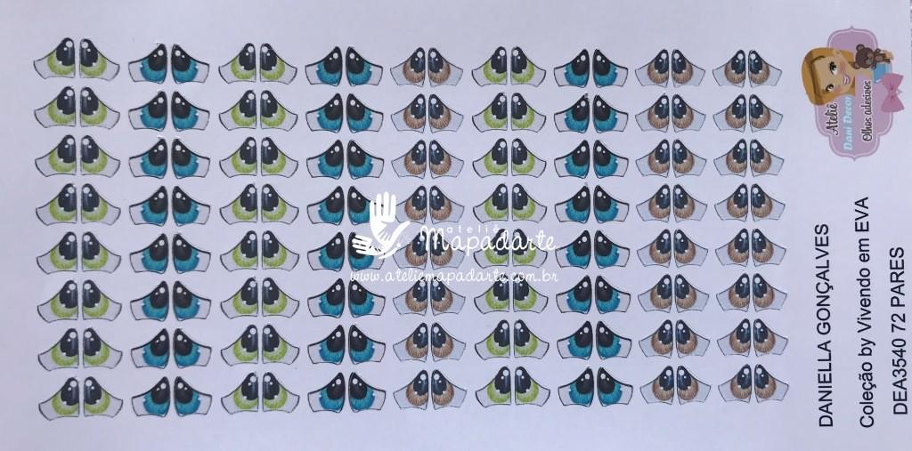 Foto 1 - Cód M527 Olho adesivo DEA 3540 72 pares