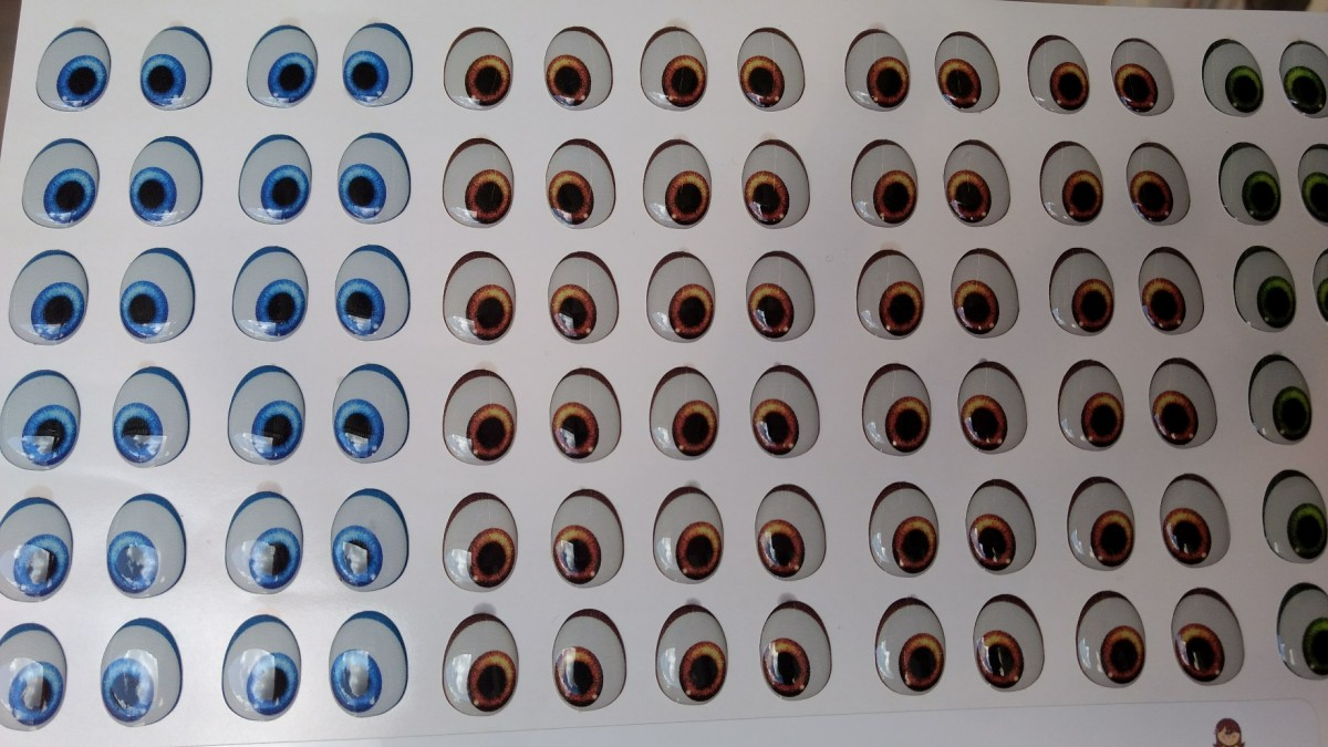 Foto2 - Cód M587 Adesivos de olhos resinados 420-P 72 pares