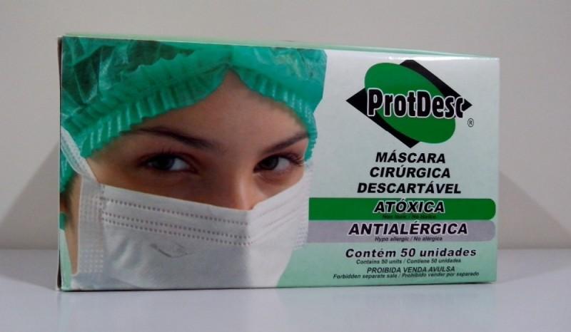 Foto 1 - Mascara descartavel c/50 protdesc branca c/elastico