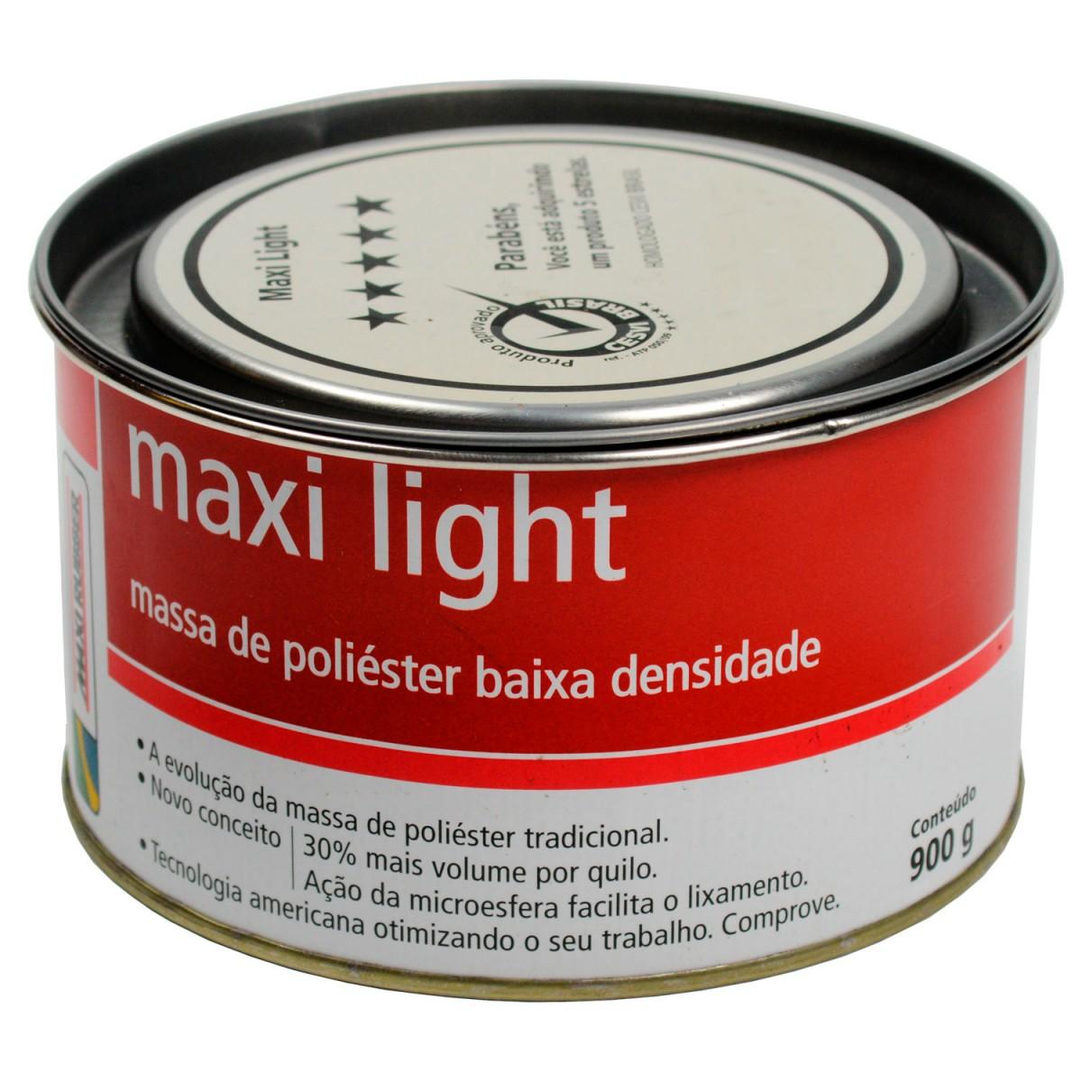 Foto 1 - Massa Poliéster Maxi Light 1mg025 Maxi Rubber 900g (Caixa fechada com 12 unidades)
