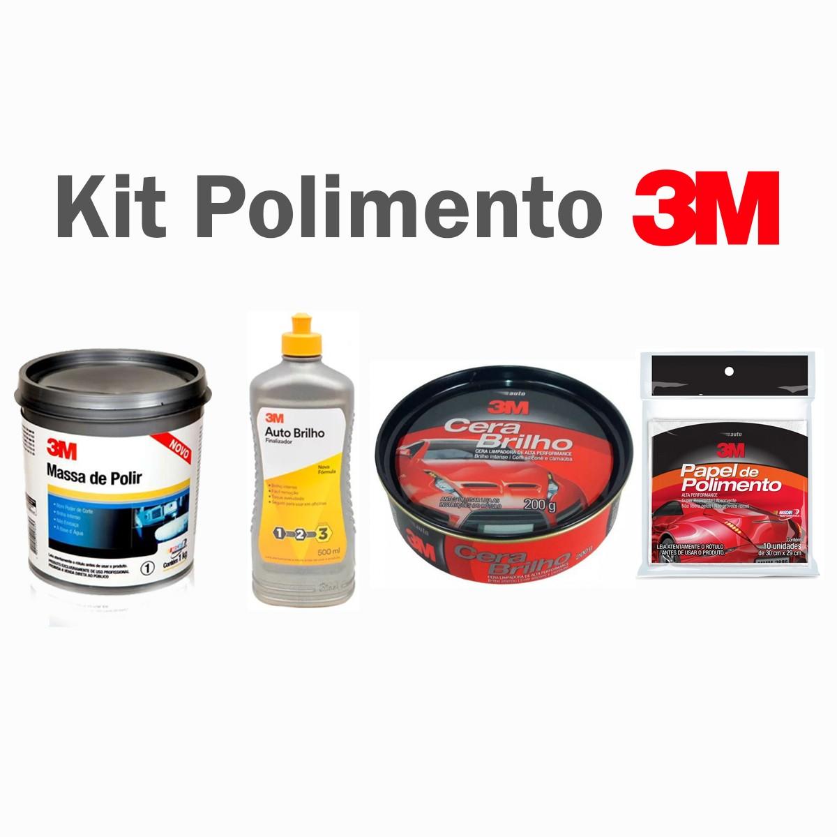 Foto 1 - KIT 3M Massa de Polir + Auto Brilho + Cera Brilho + Papel de Polimentoq