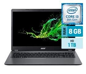 Foto1 - Notebooks Aspire 3 A315-54K-30BG Intel Core I3 8GB 1TB 15,6' Windows 10 - Acer