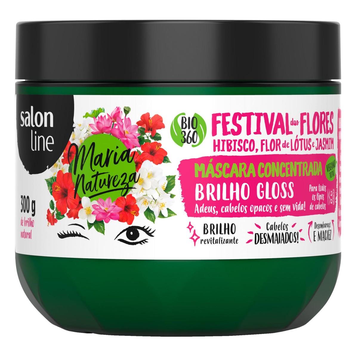 Foto 1 - Máscara Concentrada Salon Line - Maria Natureza Festival de Flores Brilho Gloss 300g