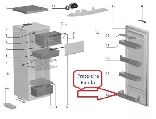 Foto3 - Prateleira Original Funda Porta Geladeira Electrolux Modelo RE26 - RE28 - RDE30