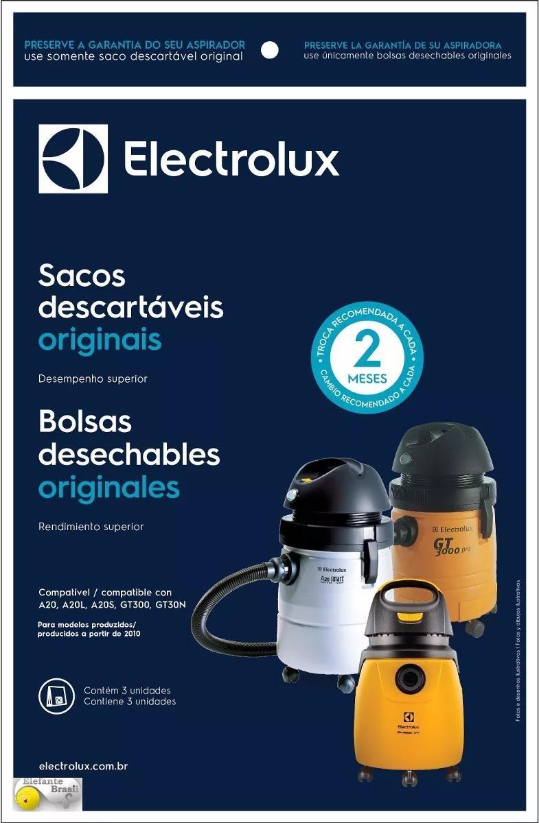 Imagem do produto Saco Descartável Aspirador Electrolux A20s - Kit c/ 03 unidades - Produto Original