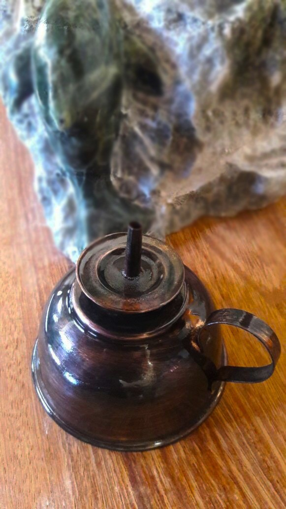 Foto 1 - Lamparina de Cobre Puro- Polido/Envelhecido