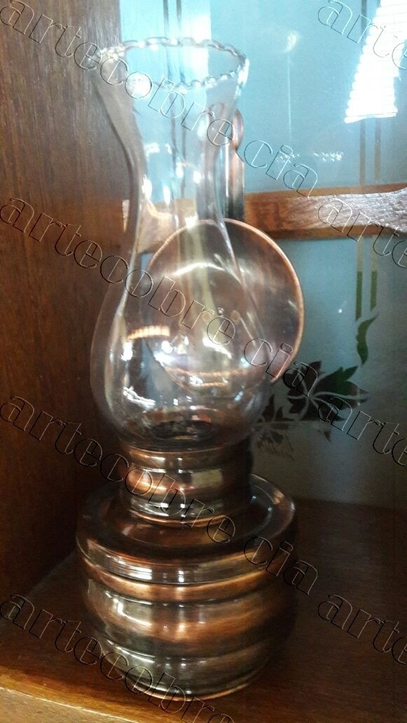 Foto 1 - Lampião de Cobre Elétrico- Polido/Envelhecido