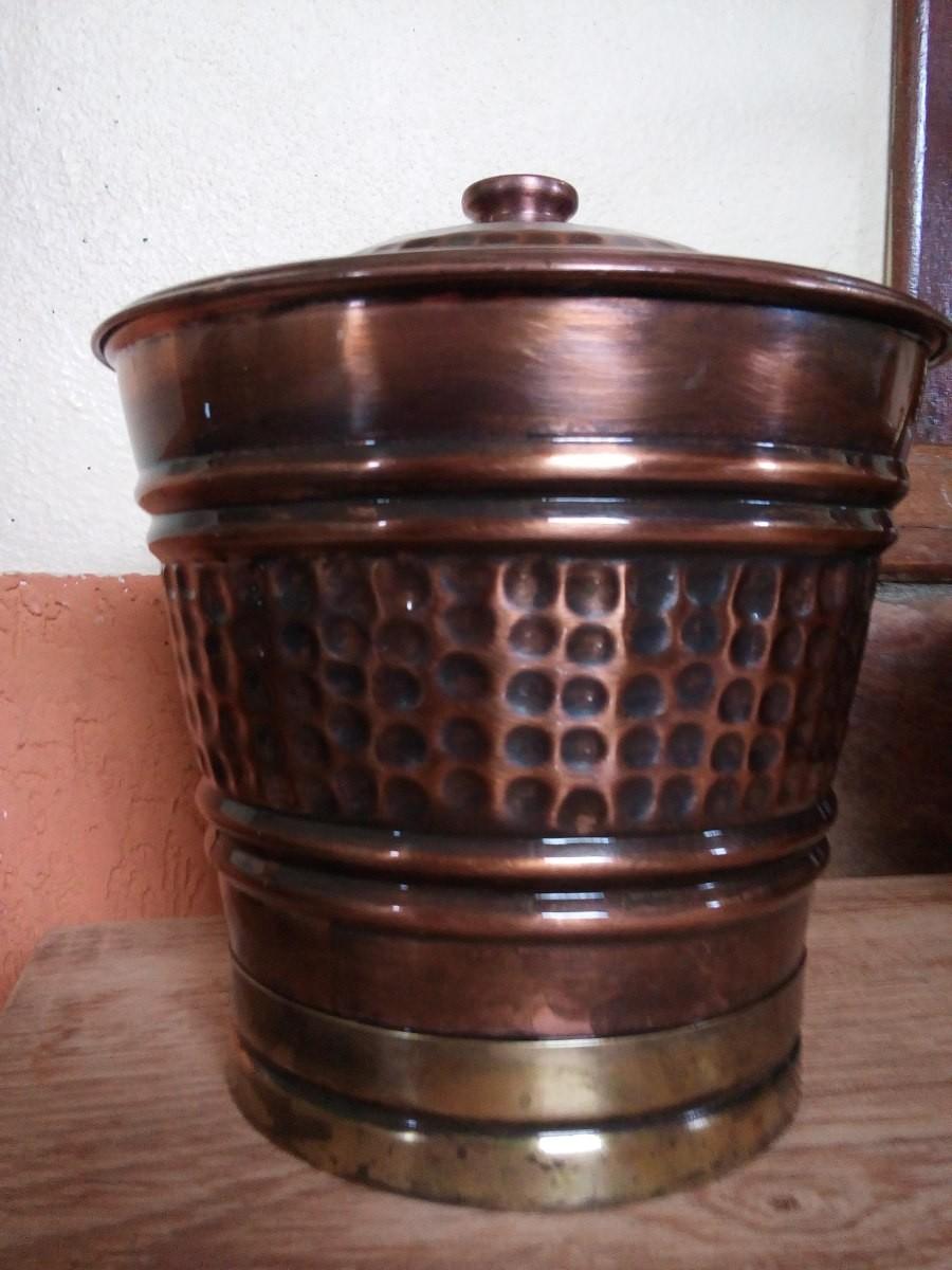 Foto 1 - Lixeira de Cobre Polido/Envelhecido
