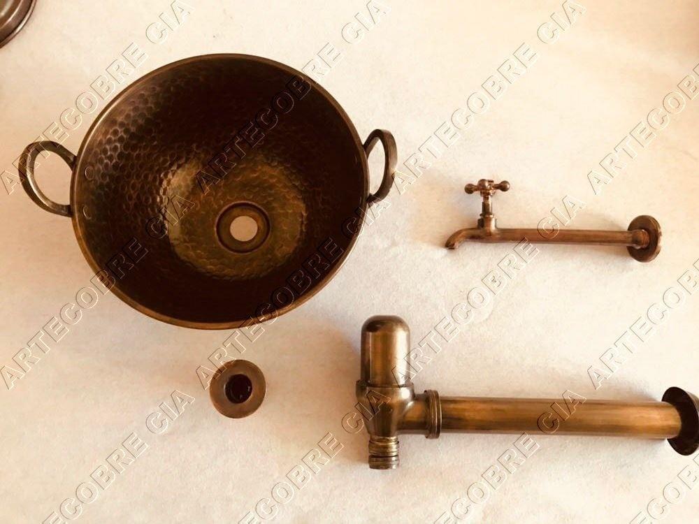 Foto 1 - Kit Cuba De Apoio C/alça+ Torneira+sifão+válvula Envelhecido