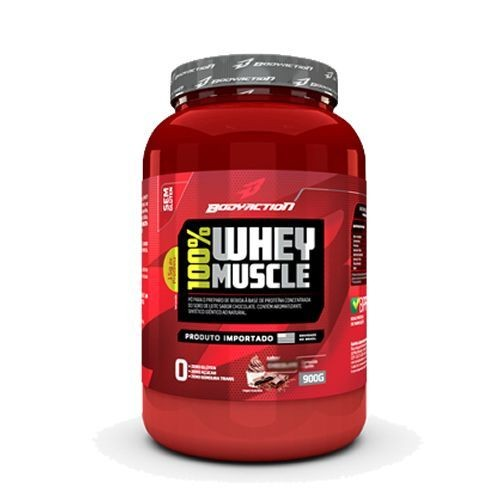Foto 1 - 100% Whey Muscle - Morango 900g - BodyAction