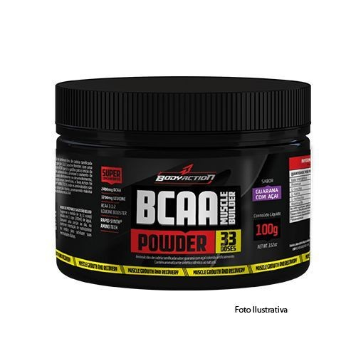 Foto 1 - BCAA Powder - Muscle Builder - 100g Sabor Ice Lemonade - BodyAction