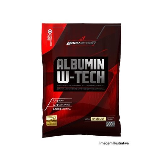 Foto 1 - Albumin W-Tech - Refil Sabor Chocolate 500g - BodyAction