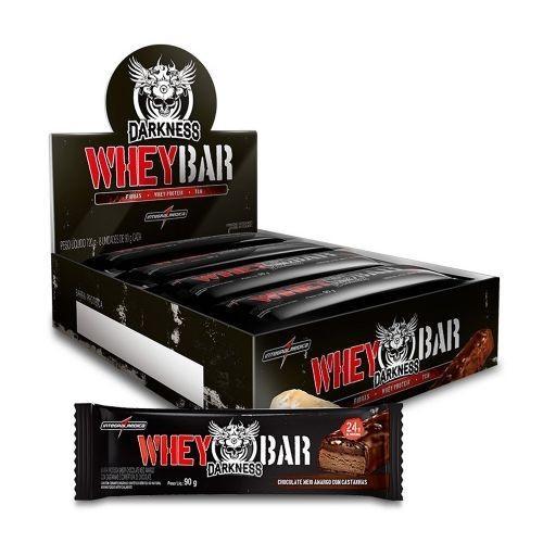 Foto 1 - Whey Bar Darkness - Caixa 8 unidades 90g Chocolate Amargo/Castanha - Integralmédica