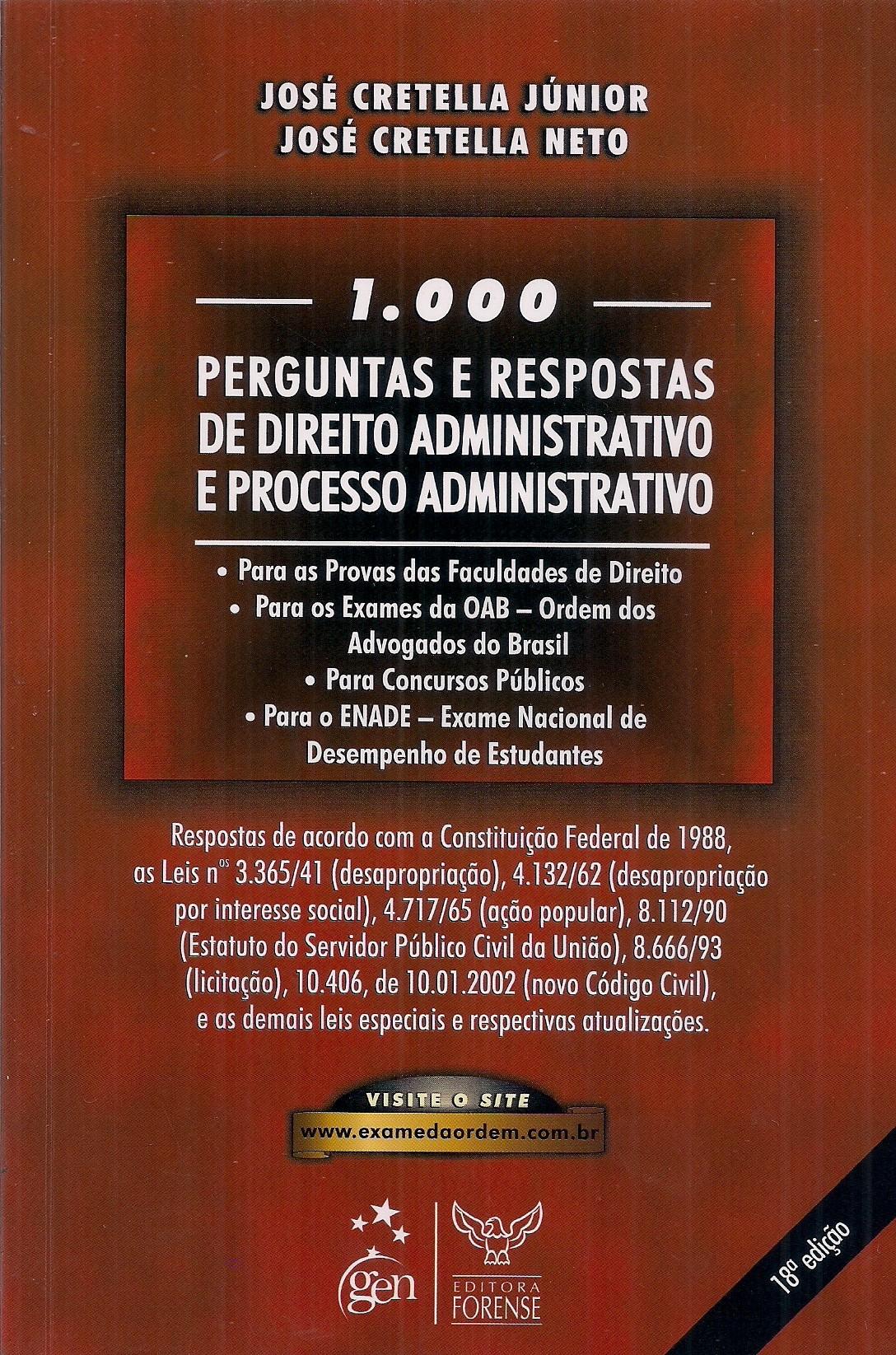 Foto 1 - 1000 Perguntas e Respostas de Direito Administrativo e Processo Administrativo