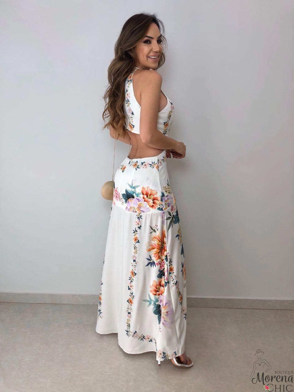 Vestido Longo Recorte Floral Farm Boutique Morena Chic