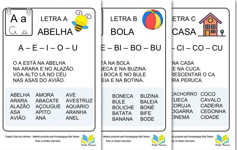 Caderno de Leitura sílabas simples - Fichas de leitura em PDF