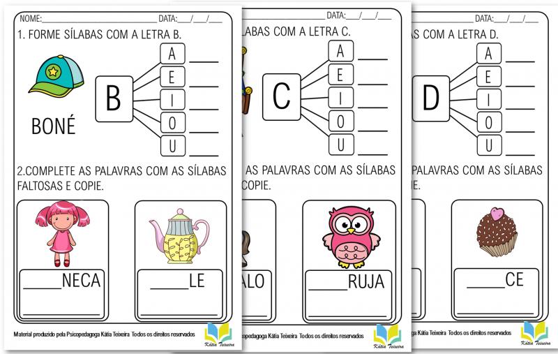 Cartilha de atividades de alfabetização consoantes Espaço do Professor